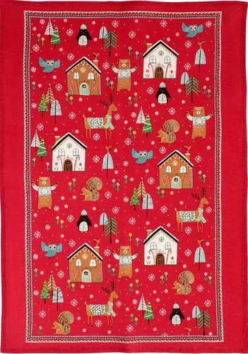 Asciugapiatti - tea towel cotone rosso animali del bosco e alberi