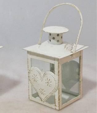 Mini lanterna metallo bianco con cuore
