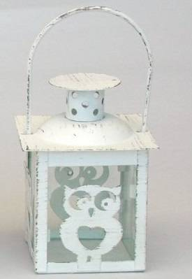 Lanternina gufetto metallo bianco