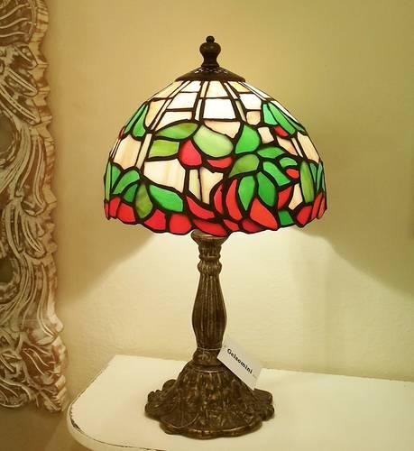 Lampada tiffany fiore rosso-verde h 35
