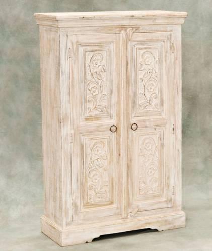 Armadio acacia legno intarsiato 2 ante