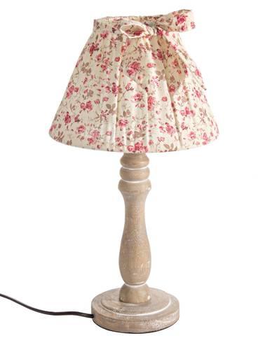Lampada legno naturale paralume roselline rosa