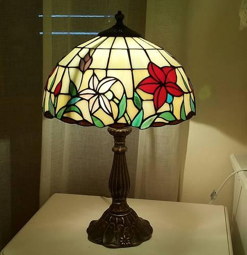 Lampada tiffany fiore rosso h 48