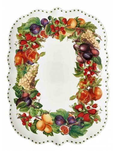Vassoietto rettangolare frutti Le Primizie porcellana cm 33x25