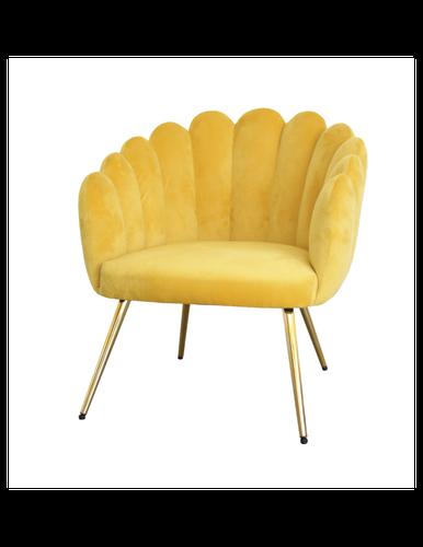 Poltrona conchiglia velluto giallo piedini oro