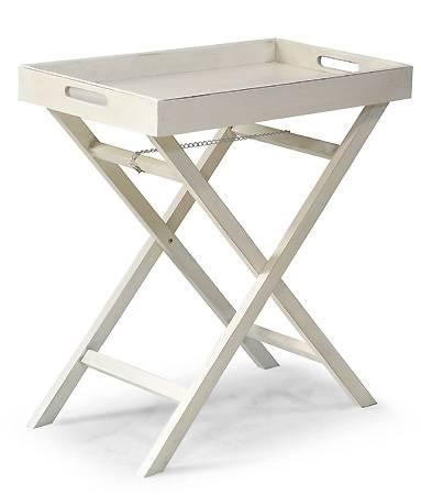 Tavolino vassoio bianco anticato