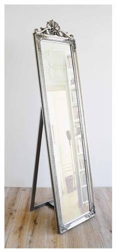 Specchio barocco legno argento con piede 45x180