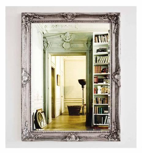 Specchio barocco legno argento 90x120