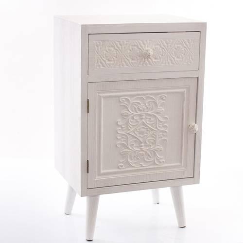 Comodino intarsi legno bianco 1 anta 1 cassetto