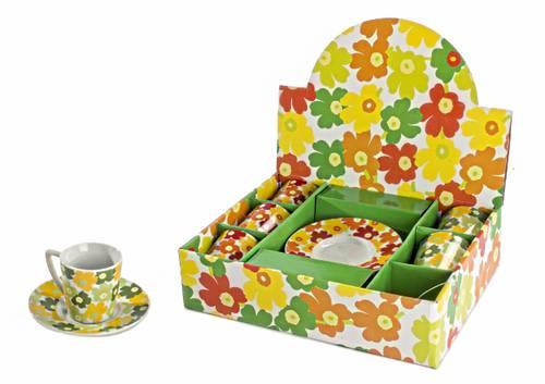 Tazzine caffe' fiori arancio e verde