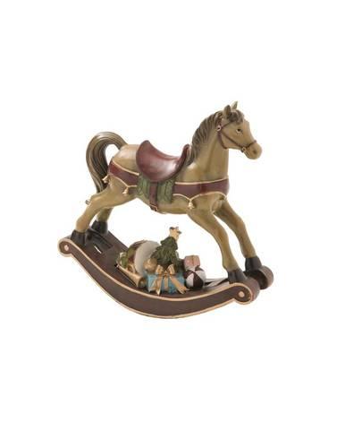 Cavallo bronzo dondolo natalizio con doni 32,5h