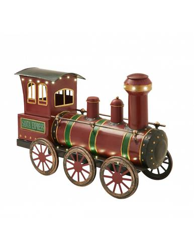 Locomotiva treno metallo rosso Santa Express con luci led