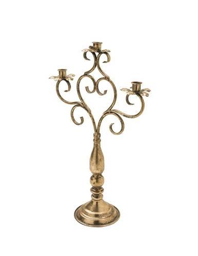 Candeliere 3 fiamme metallo oro antico