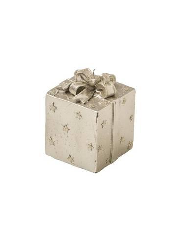 Candela natalizia pacchetto regalo oro con stelle 9,5h