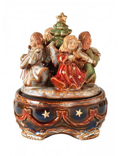 Carillon angeli con albero di natale porcellana 18,5h