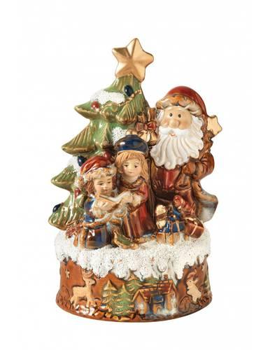 Carillon babbo natale  con albero e bimbi porcellana 19,5h