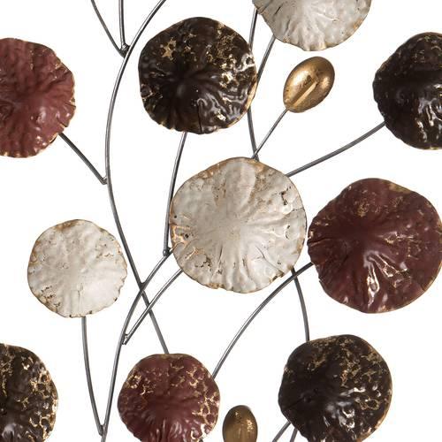 Pannello foglie toni bronzo bianco e nero in metallo