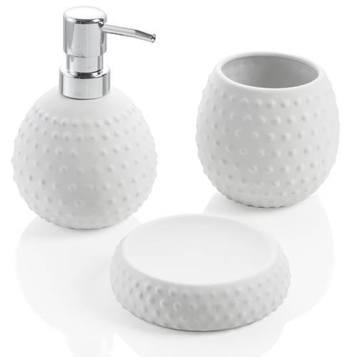 Accessori bagno 3pz Dotty ceramica bianca