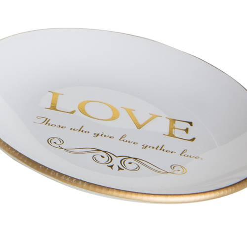 Accessori bagno 3pz vetro bianco finiture oro Love