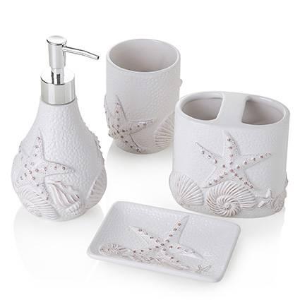 Accessori bagno bianco decoro conchiglie e stelle marine 4pezzi