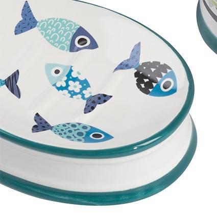 Accessori bagno ceramica Pesci blu 3 pezzi