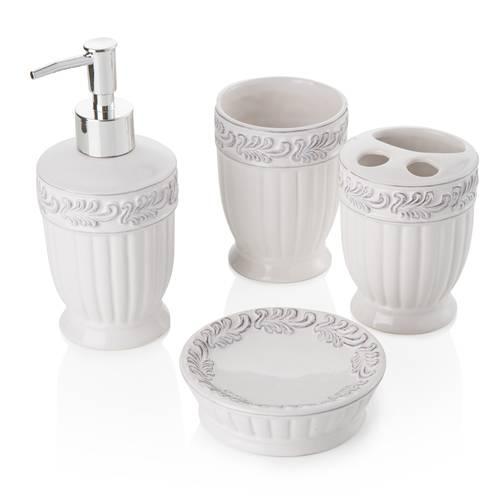 Accessori bagno ceramica bianco antico decor 4 pezzi