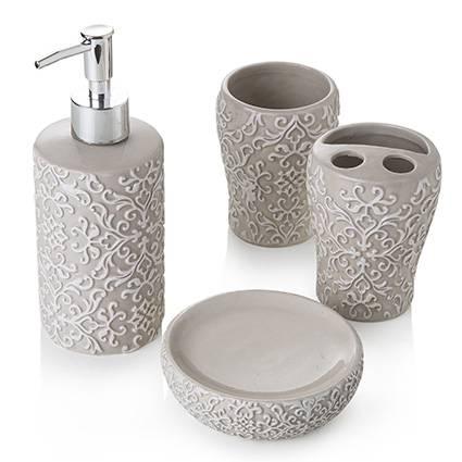 Accessori bagno ceramica tortora ricami bianchi 4 pezzi