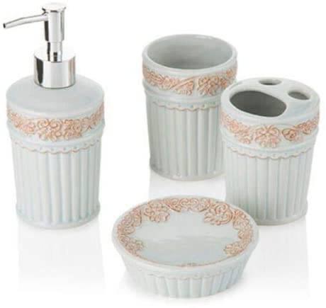 Accessori bagno ceramica verde acqua decor 4 pz