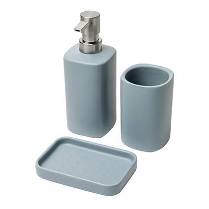 Accessori bagno modern 3pz ceramica azzurro avio