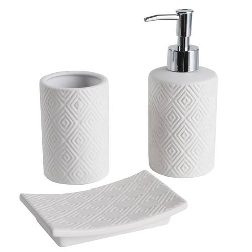 Accessori bagno modern geometrico 3pz ceramica bianca
