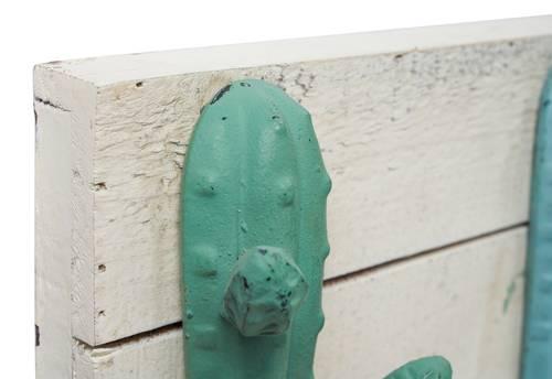 Appendiabiti cactus colorati metallo e legno 6 ganci a parete