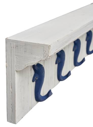 Appendiabiti delfini blu mensola legno bianco 5 ganci a parete