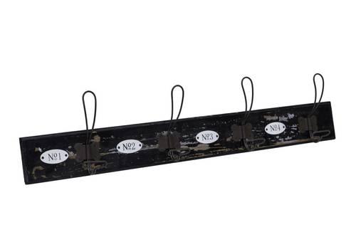 Appendiabiti legno nero decoro numeri 4 ganci