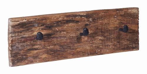 Appendiabiti legno rustico vintage 3 ganci a chiodo