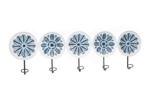 Appendiabiti metallo maioliche blu 5 ganci