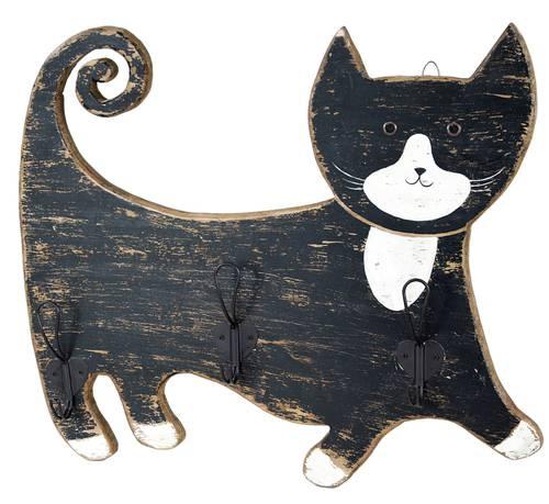 Appendiabiti parete gatto legno nero 3 ganci