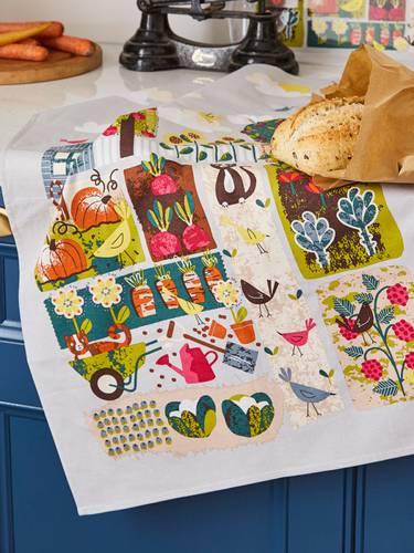 Asciugapiatti - tea towel cotone gatti nell'orto home grown