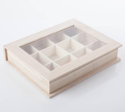 Bacheca legno formato libro con anta vetro