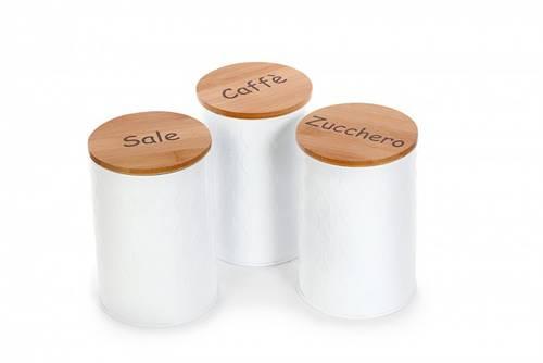 Barattoli cucina set3 metallo bianco tappo legno