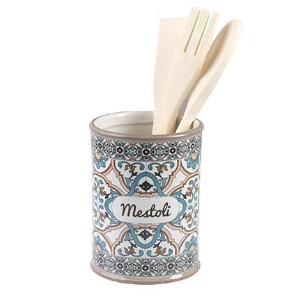 Barattolo Noto porta mestoli ceramica colorata azzurra