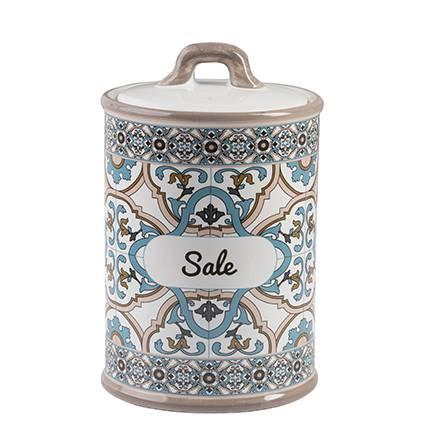 Barattolo Noto sale ceramica colorata azzurra