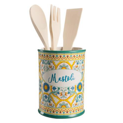 Barattolo Ortigia porta mestoli ceramica colorata