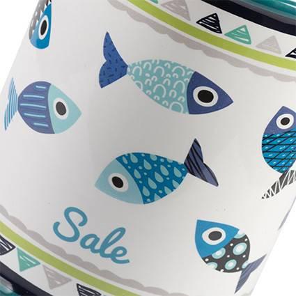 Barattolo Pesci blu sale ceramica colorata