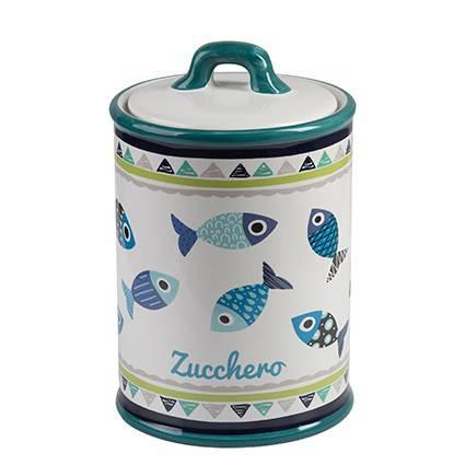 Barattolo Pesci blu zucchero ceramica colorata