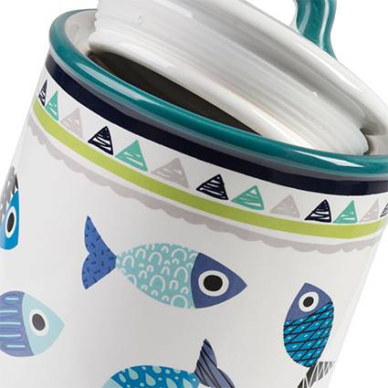 Barattolo Pesci blu caffe ceramica colorata