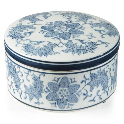 Barattolo ceramica fiori blu antica cina 9h