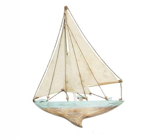 Barca a vela legno azzurro decorativa da parete