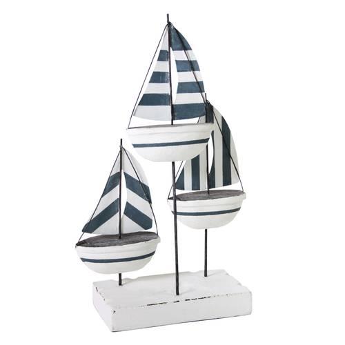 Barchette mare decorative legno bianco e azzurro