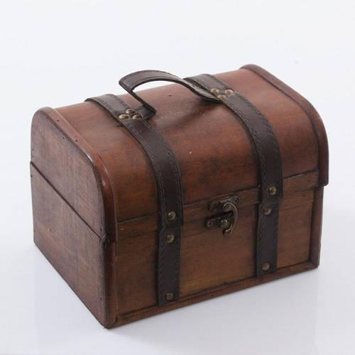 Bauletto legno noce coloniale 20x15maniglia ecopelle
