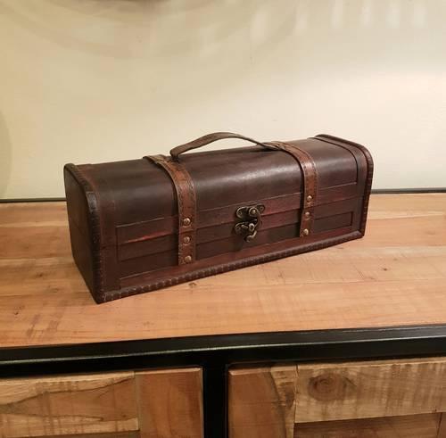 Bauletto legno noce coloniale stretto e lungo maniglia ecopelle